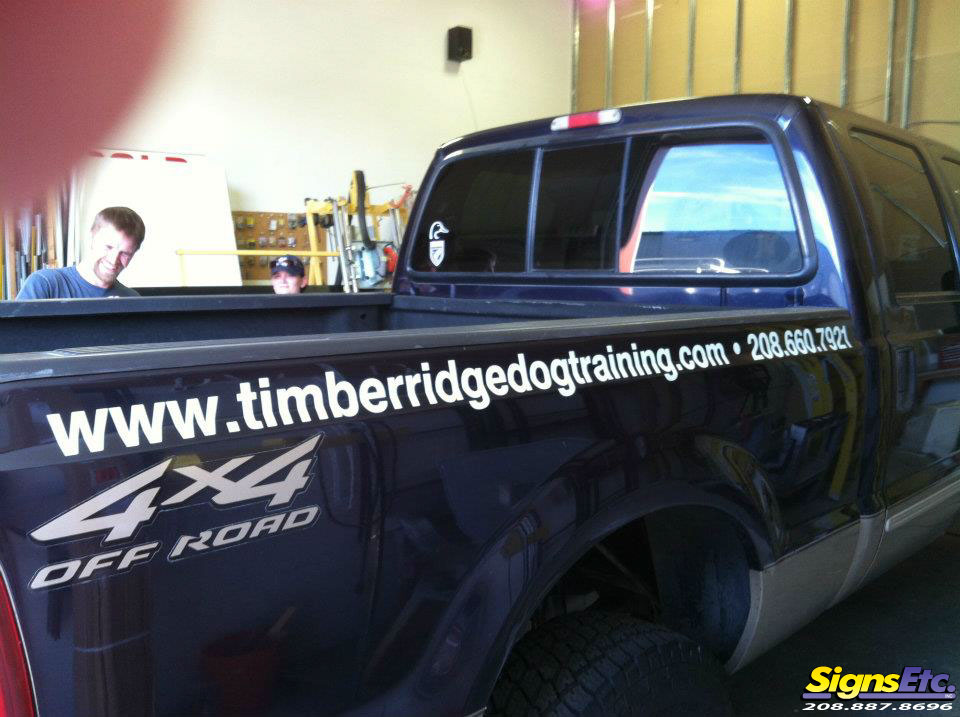 Timber Ridge Dog Training Truck Lettering