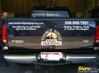Timber Ridge Dog Training Truck Tailgate Lettering