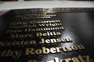 Closeup of the lettering on this beast of a plaque.